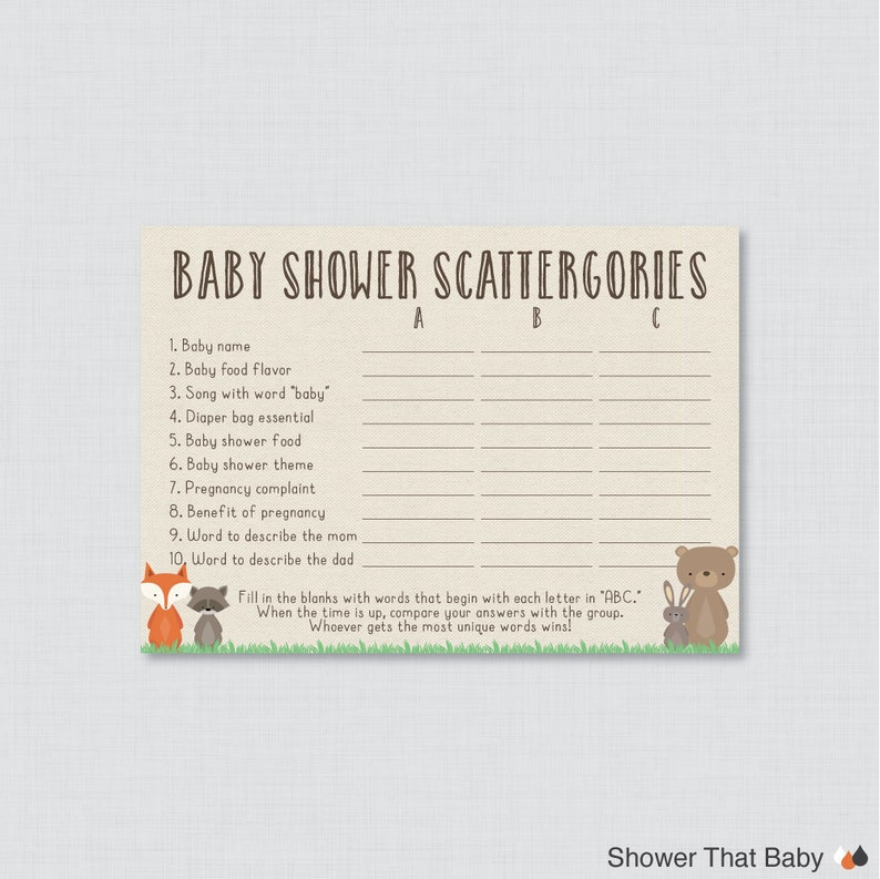 photograph about Scattergories Printable called Woodland Little one Shower Scattergories Video game - Printable Down load - Woodland Kid Shower Video game - Child Scattergories ABC Sport 0010