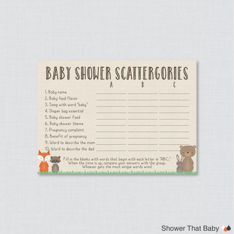 f4028eb66b1a7 Woodland Baby Shower Scattergories Game - Printable Download - Woodland  Baby Shower Game - Baby Scattergories ABC Game 0010