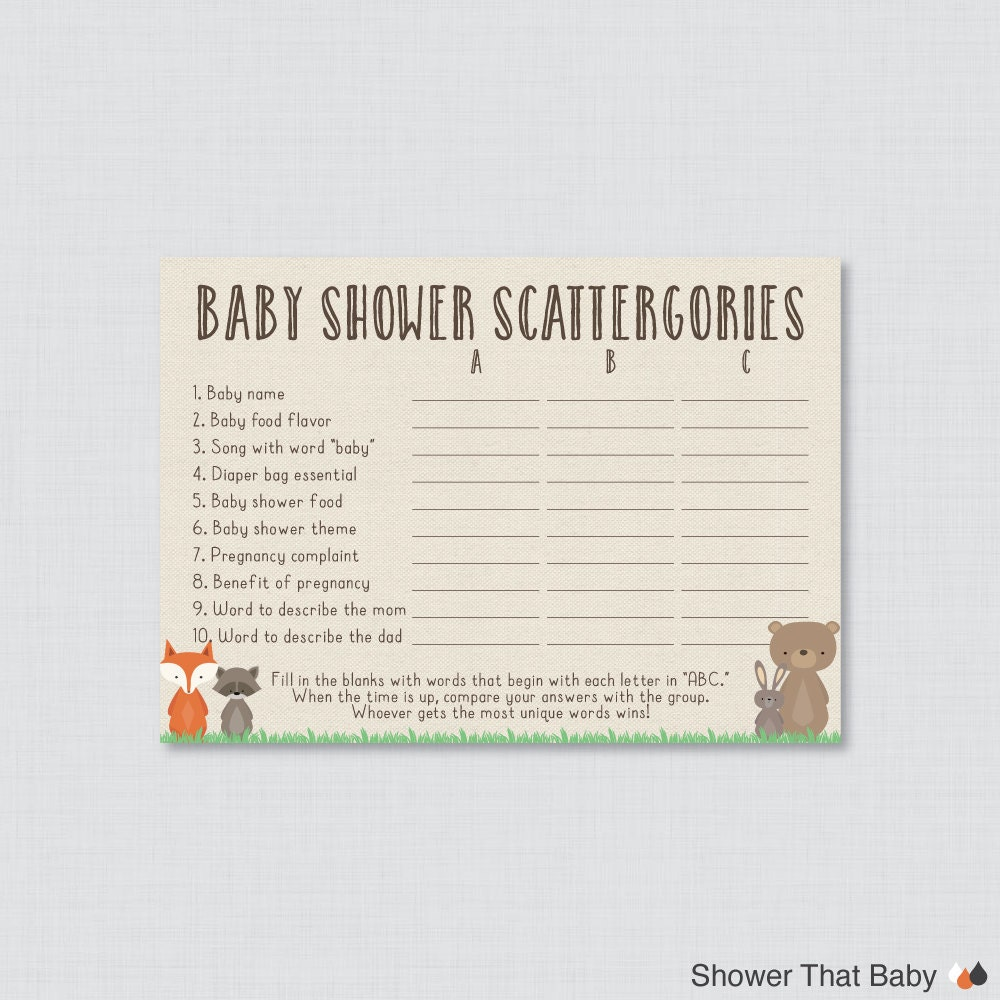 Woodland Baby Shower Scattergories Game Printable Download