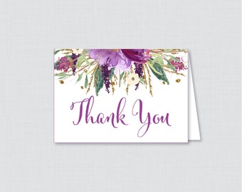 Printable Purple Thank You Card - Printable Instant Download - Purple and Gold Flower Baby Shower Thank You Card, Floral Thank You - 0045