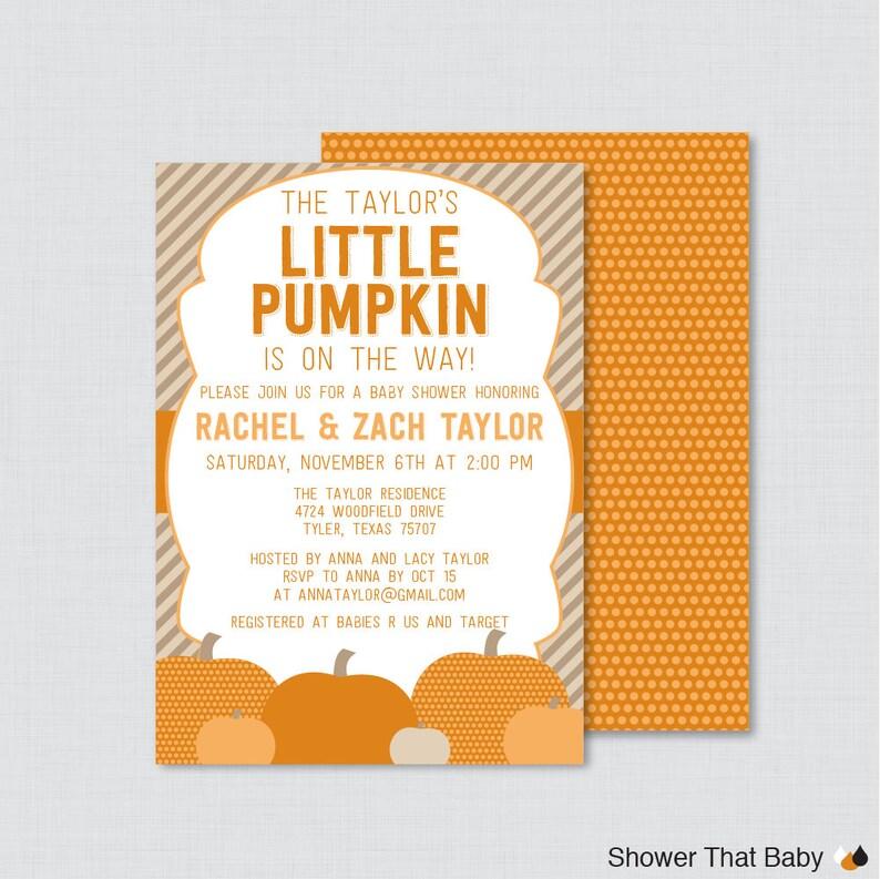 Little Pumpkin Baby Shower Invitation Printable or Printed image 0