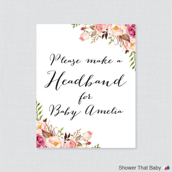 Pink Baby Shower Headband Station Sign Printable Etsy
