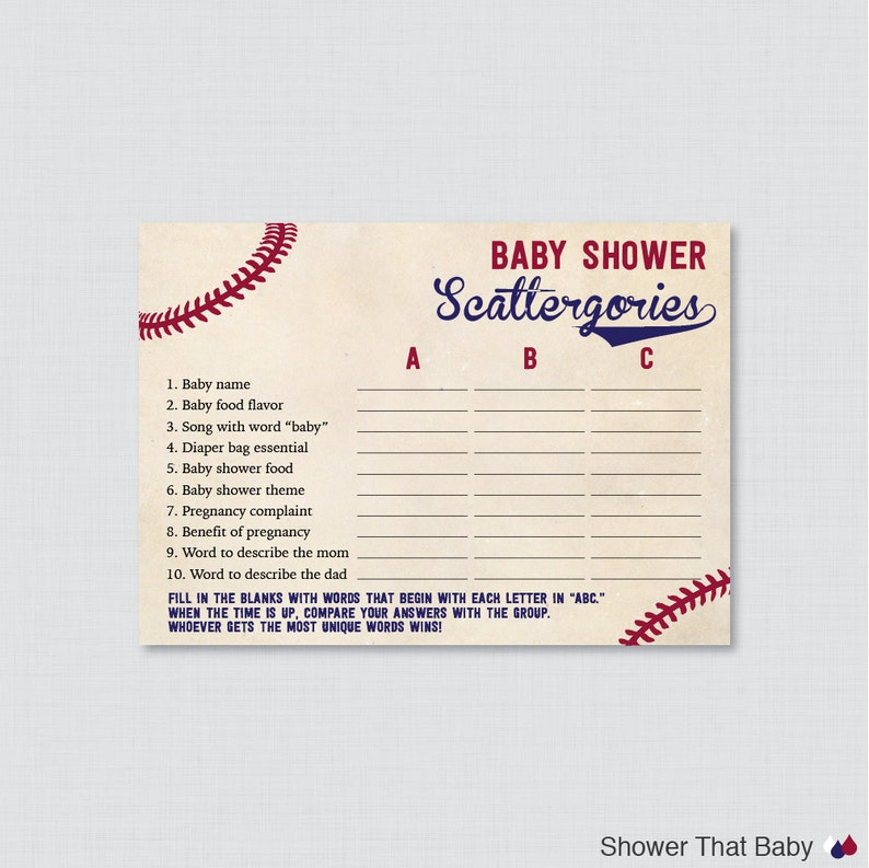 9719e993f1a28 Baseball Baby Shower Scattergories Game - Printable Download - Vintage  Baseball Themed Baby Shower Game - Baby Scattergories ABC Game 0027