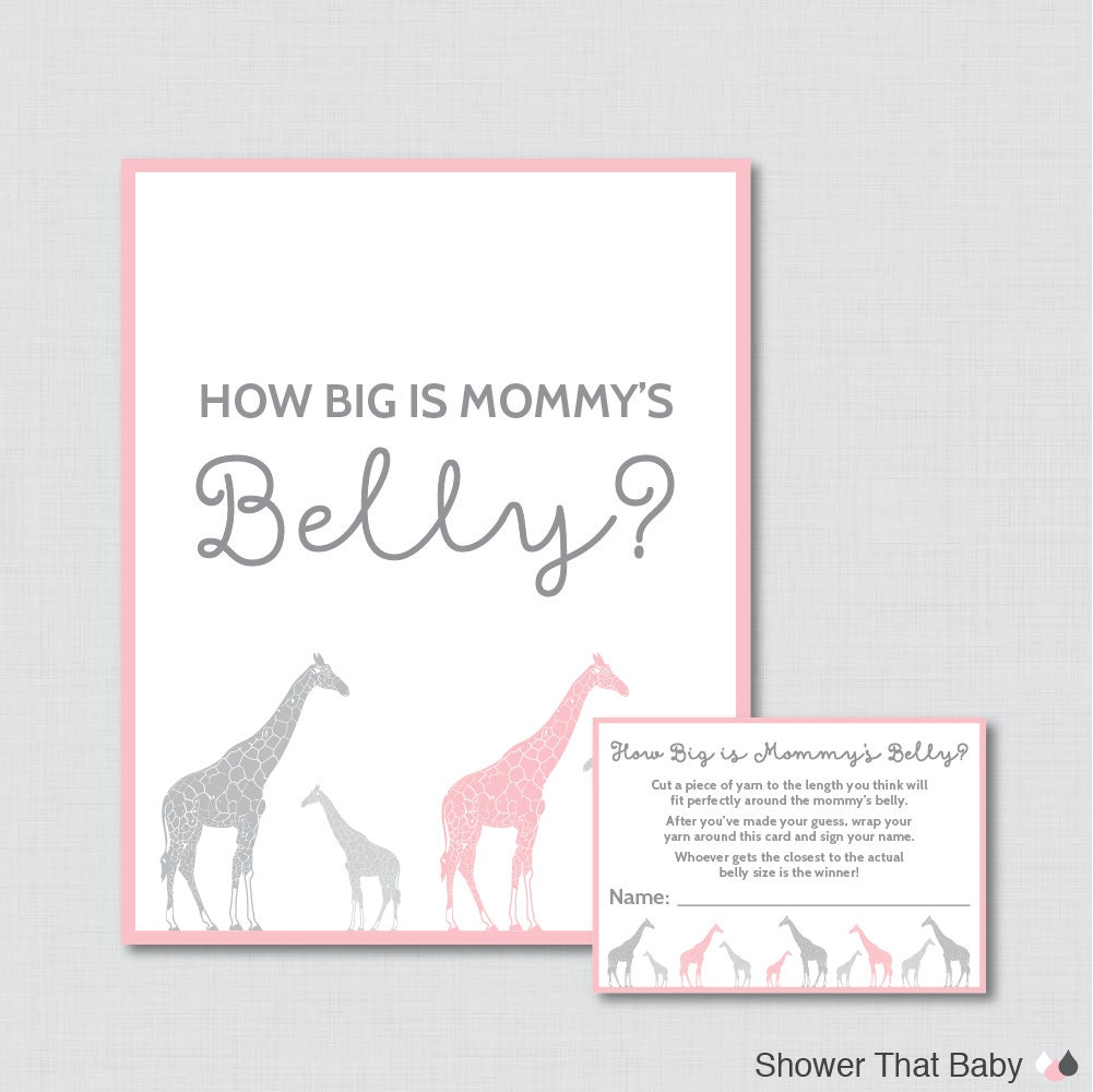 Giraffe Baby Shower How Big Is Mommys Belly Game