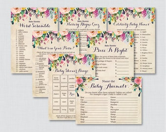 Floral Baby Shower Games Package - Seven Printable Games: Bingo, Price is Right, Purse Game, Nursery Rhyme - Shabby Chic Flower Baby 0025-A