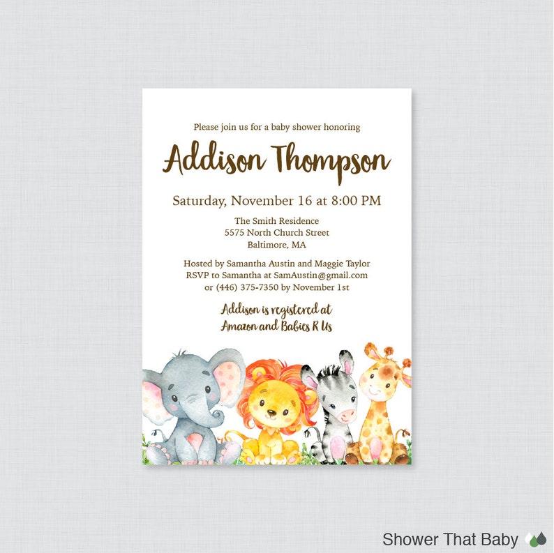 Safari Baby Shower Invitation Printable Or Printed Gender Etsy