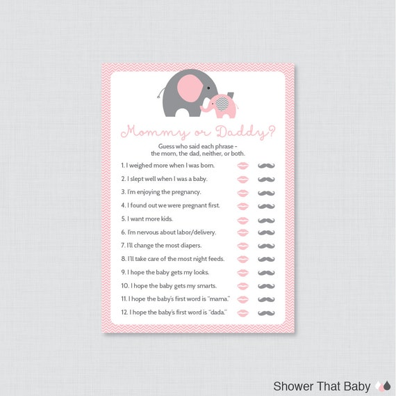 Elephant Mommy Or Daddy Baby Shower Quiz Baby Shower He Said She