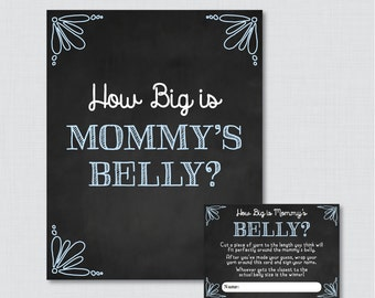 Blue Chalkboard Baby Shower How Big Is Mommy's Belly Game - Printable Baby Shower Belly Guessing Game, Guess Belly Size Chalkboard - 0026-B