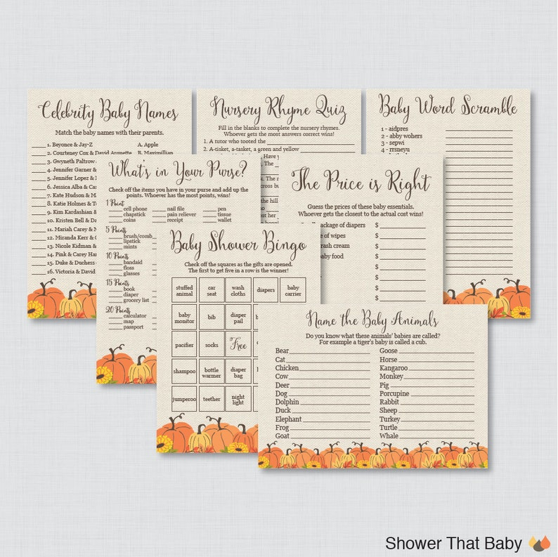 Pumpkin Baby Shower Games Package  Seven Printable Games: image 0