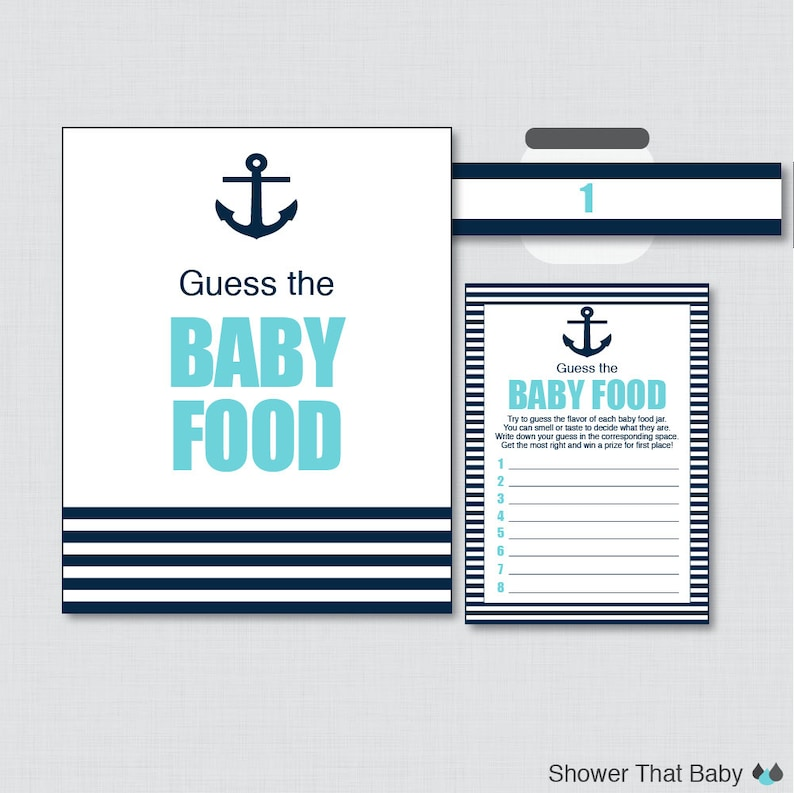 Nautical Baby Shower Game Guess the Baby Food Activity in Aqua image 0