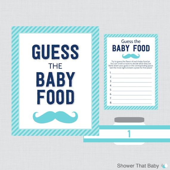 Mustache Baby Shower Guess The Baby Food Baby Shower Game Etsy