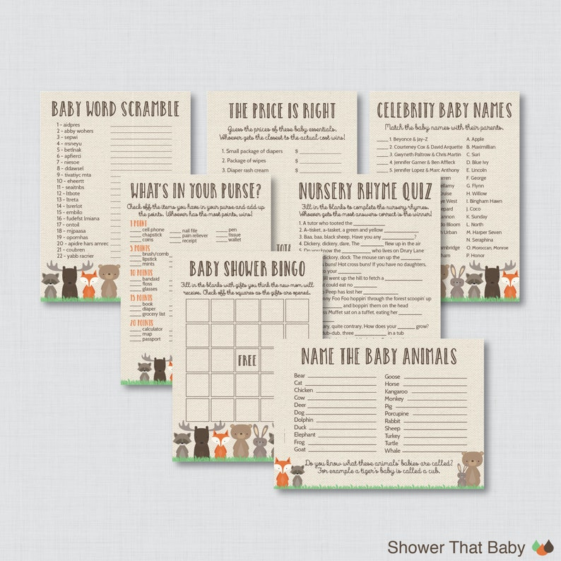 Woodland Baby Shower Games Package  Seven Printable Games image 0