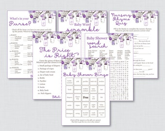 Mason Jar Baby Shower Games Printable Package with Purple Mason Jars - SIX Games - Instant Download - Purple Baby Shower Games - 0064-R