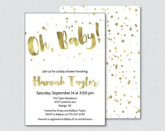 White and Gold Baby Shower Invitation Printable or P- Faux Gold Foil Baby Shower Invites in White and Gold - Baby Shower Invitation - 0022-W