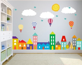 Lovely City Wall Decals, Wall Decals Nursery, Nursery Wall Decal, Kids Wall Decal, Wall  Decal, Hot Air Balloon Wall Decal, Wall Decal Nursery