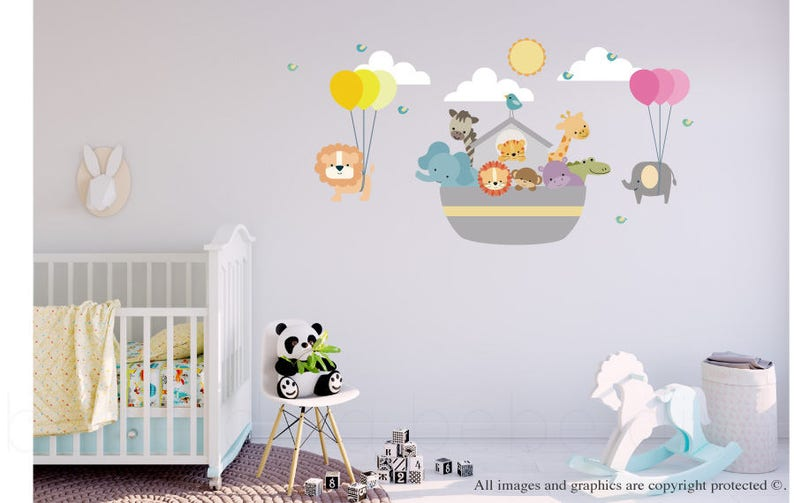 Noah's Ark Wall Decal, Wall Decals Nursery, Wall Decal Nursery, Balloon  Wall Decal, Baby Wall Decal, Jungle Wall Decal, REMOVABLE & REUSABLE