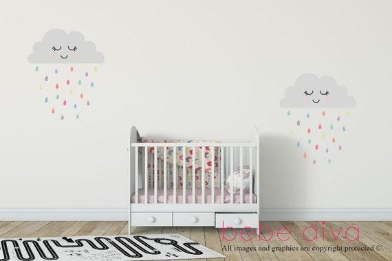 Lächelnde Wolken Wandtattoo, Wand-Aufkleber-Kinderzimmer, Wandtattoo  Regenbogen, Neutral, Stoff Baby Wandtattoo, Kinder Wand, ...