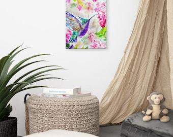Hummingbird in flower garden Canvas print