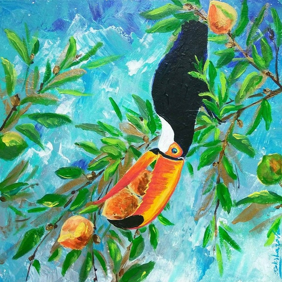 Acrylic Painting Toucan Painting Tropical Acrylic Toucan Painting Tropical Decor Original Tropical Painting Original Art Palm Tree