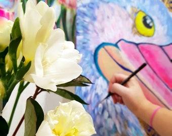Pelican acrylic painting on canvas marine bird painting nature wall art gold finish housewarming anniversary gift home decor nature wildlife