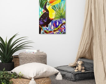 Toucan print on stretched Canvas, tropical home decor, bird lovers gift