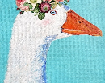 White goose in flower crown. A4 giclee print of cute bird. Nursery decor and bird lover gift idea