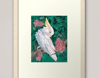 Sulphur crested cockatoo in the tree, giclee art print, bird lover gift