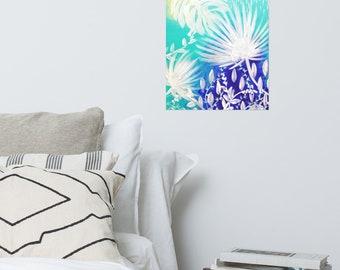 Tropical leaves Poster, white monstera leaves art print