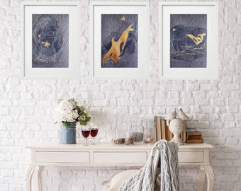 Orca whale giclee art print set. Woman and orca gold foiled line art drawings