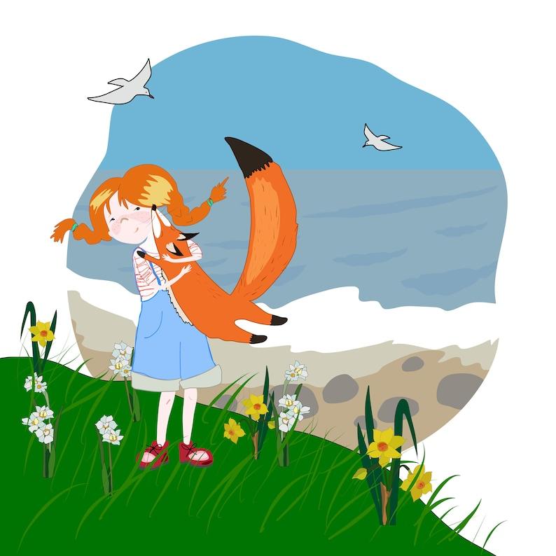 Simon the fox and Chloe PRINTABLE poster red girl and fox wall image 0