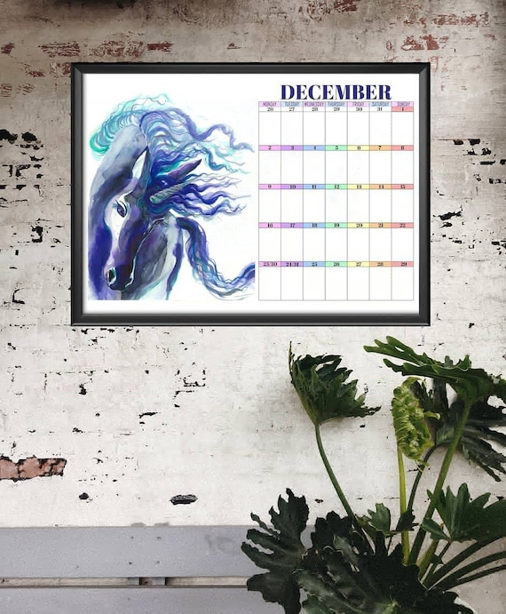 Planner 2019 Unicorn Calendar Large Printable Monthly Planner Etsy