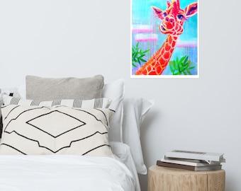 Giraffe acrylic painting Poster print