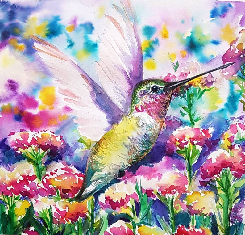 Hummingbird in flower garden Original watercolor painting ...