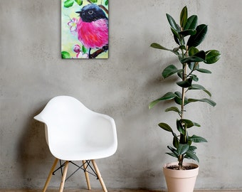 Pink robin acrylic painting print on Canvas