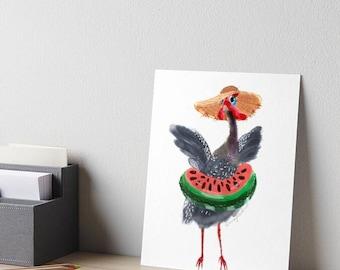 Guinea fowl vacation. A4 giclee print of cute bird. Nursery decor and bird lover gift idea