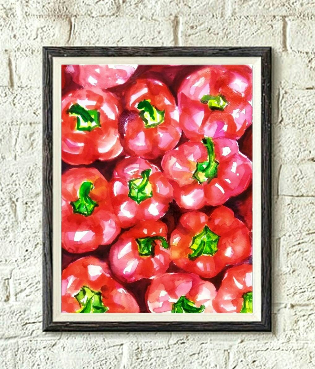 Bell Peppers Original Watercolor Painting Kitchen Wall Decor Etsy