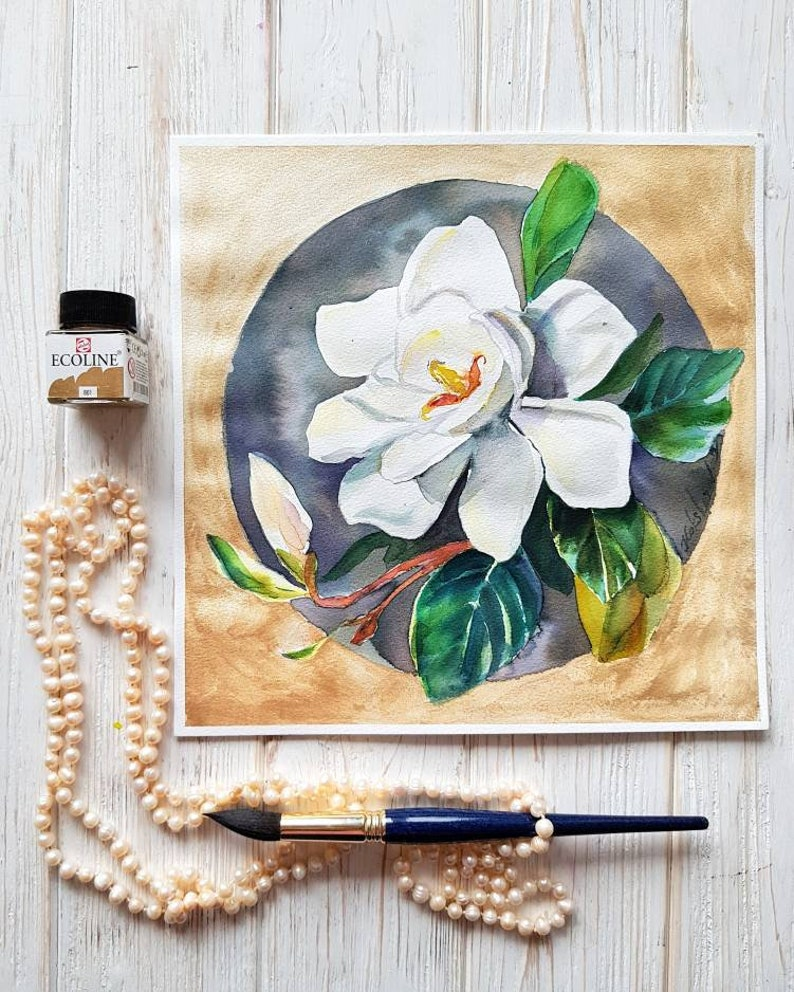 Magnolia from Golden Circles Floral series original watercolor image 0