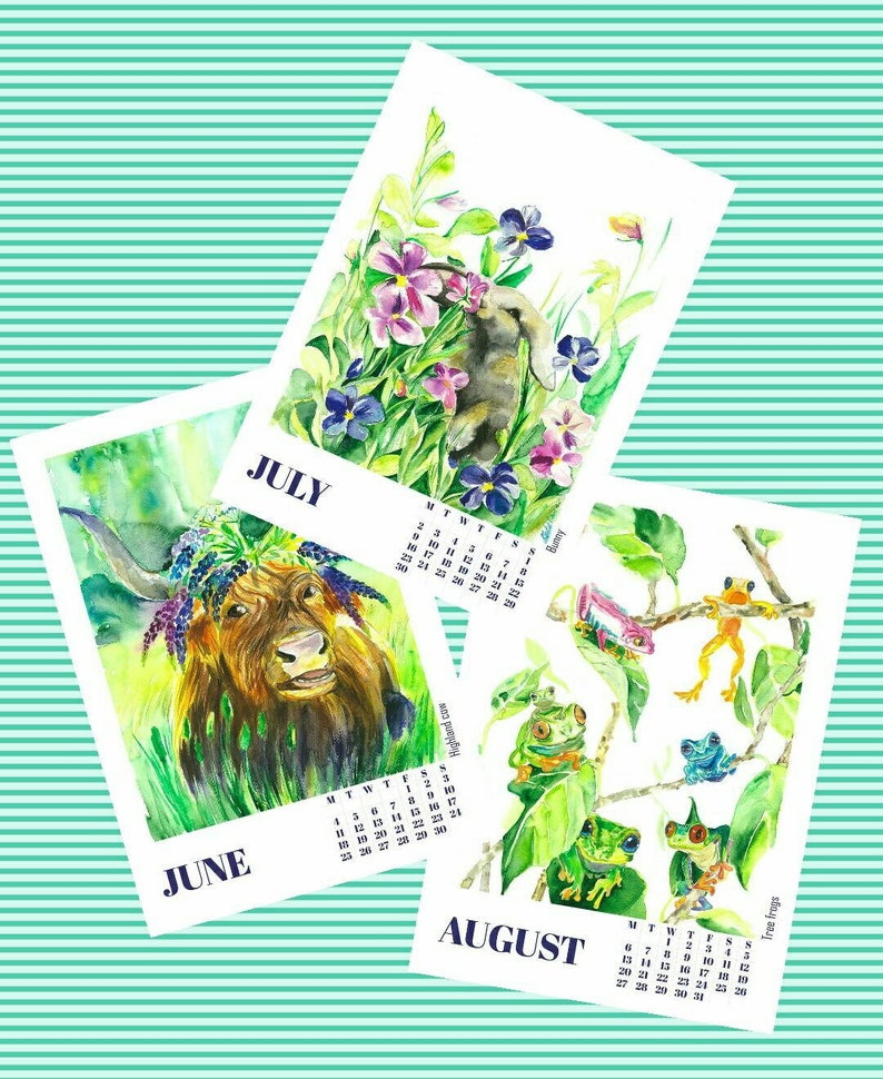 PRINTABLE Monthly calendar 2021 animals  watercolor wall art image 0