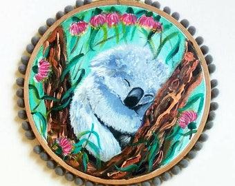 Sleepy Baby Koala in eucalyptus original acrylic painting on stretched canvas hoop Gum tree nursery decor baby shower gift Australian animal