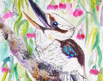 Australian Kookaburra in the gum tree original watercolor painting Birds nursery decor Gift for her eucalyptus flowers wildlife nature