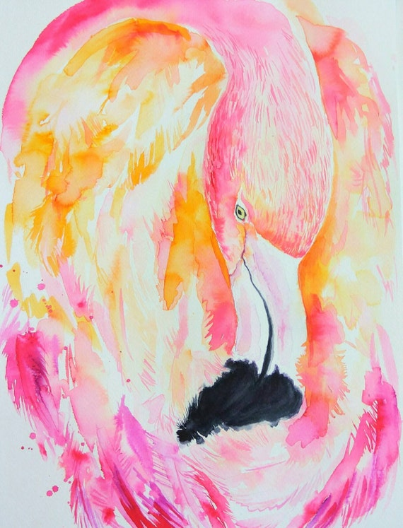 Pink Flamingo, original watercolor painting, coral, orange, peach, apricot  color, bird, nature wall decor, art, gift for her, tropical bird