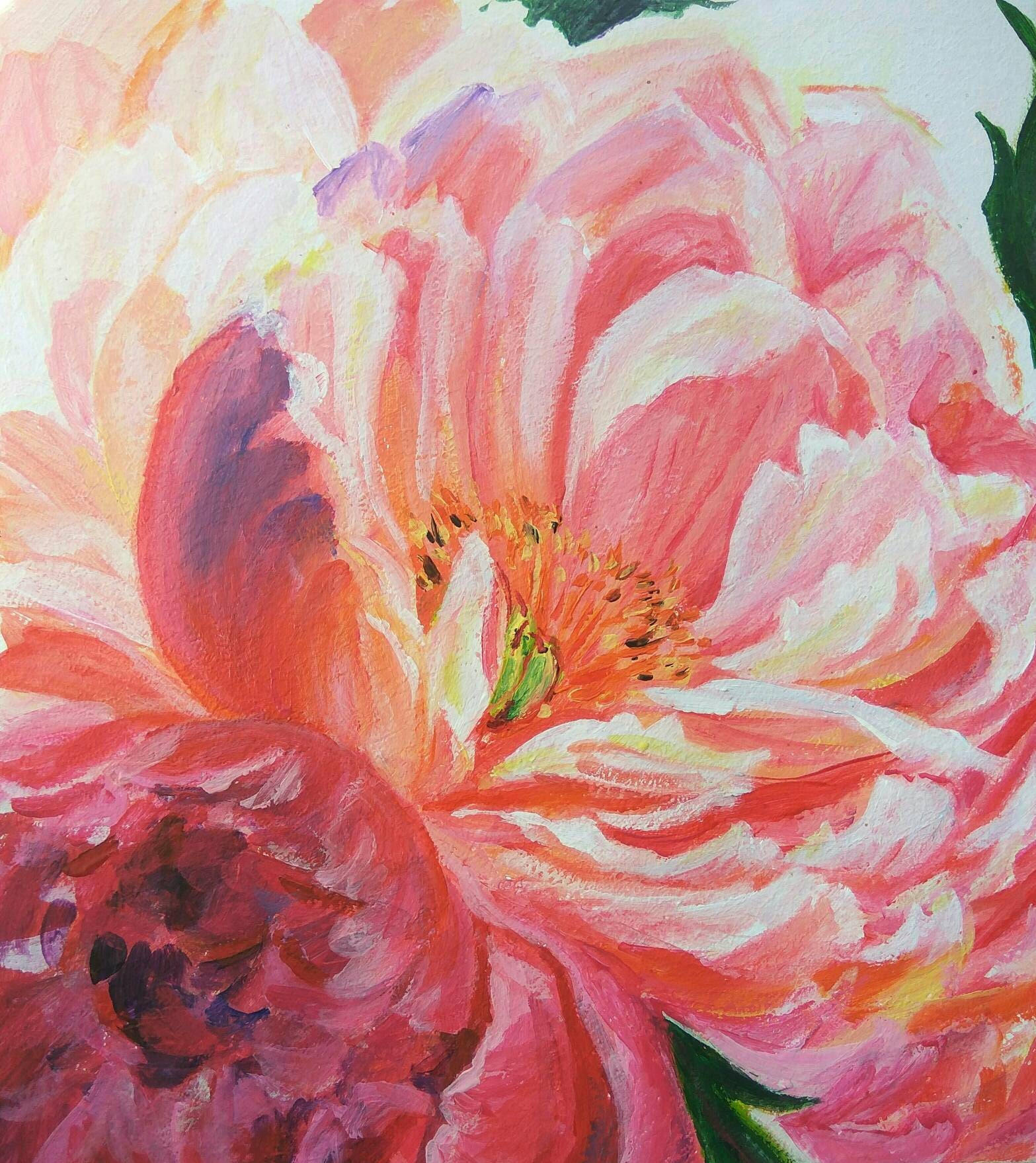 Peonies Small Original Acrylic Painting Light Pink Flowers Etsy