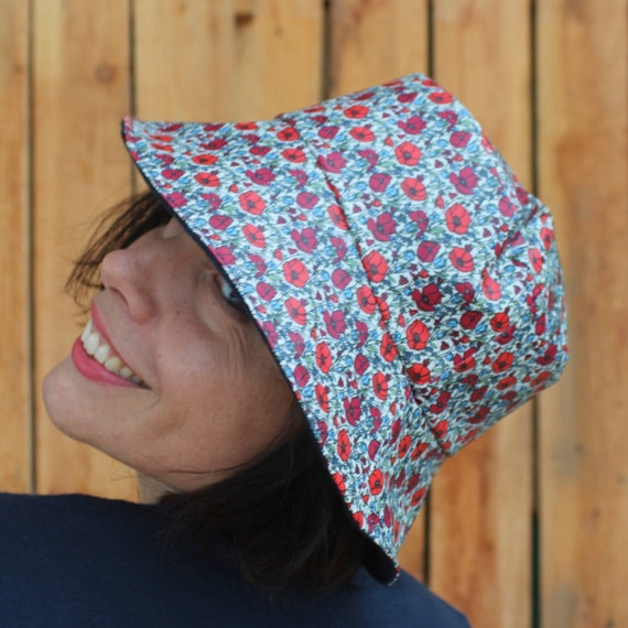 Waterproof hat Poppies Rain hat handmade with waterproof  e62ad74c9f7f