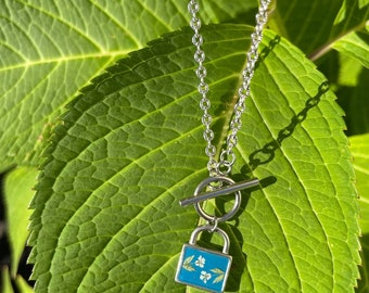 Lock pendant/ Toggle necklace/ Toggle clasp/ Gifts for her/ Queen Anne's Lace