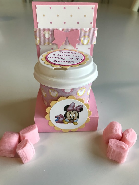 Thanks A Latte Minnie And Mickey Disney Baby Shower Favors Etsy