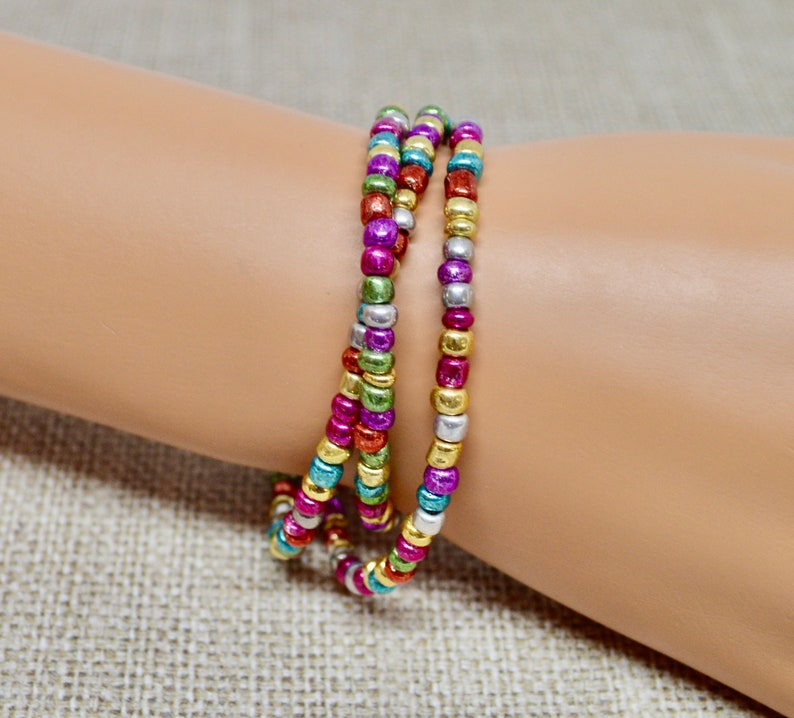 festive jewelry Christmas 2020 Christmas light bulb beaded jewelry gift for her layering multi-colored holiday wrap beaded bracelet