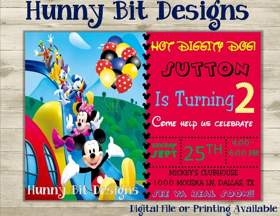 Mickey Mouse Clubhouse Birthday Invitation Minnie Donald Duck Goofy Boy Girl Black Red Yellow Green