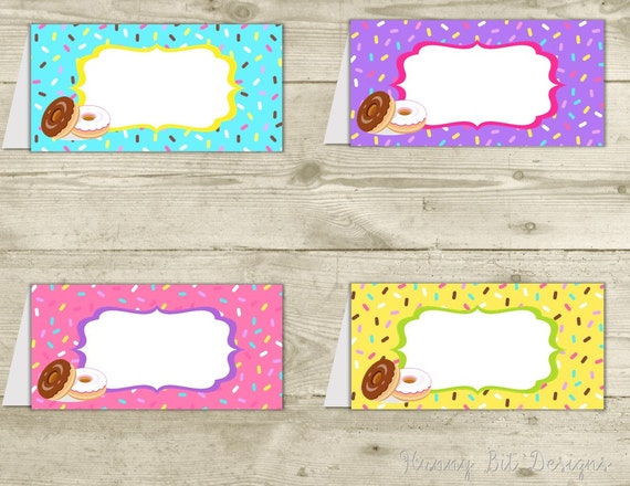 photograph regarding Printable Tent Cards called Donut Sprinkles Birthday Bash Tent Playing cards, Foodstuff Labels