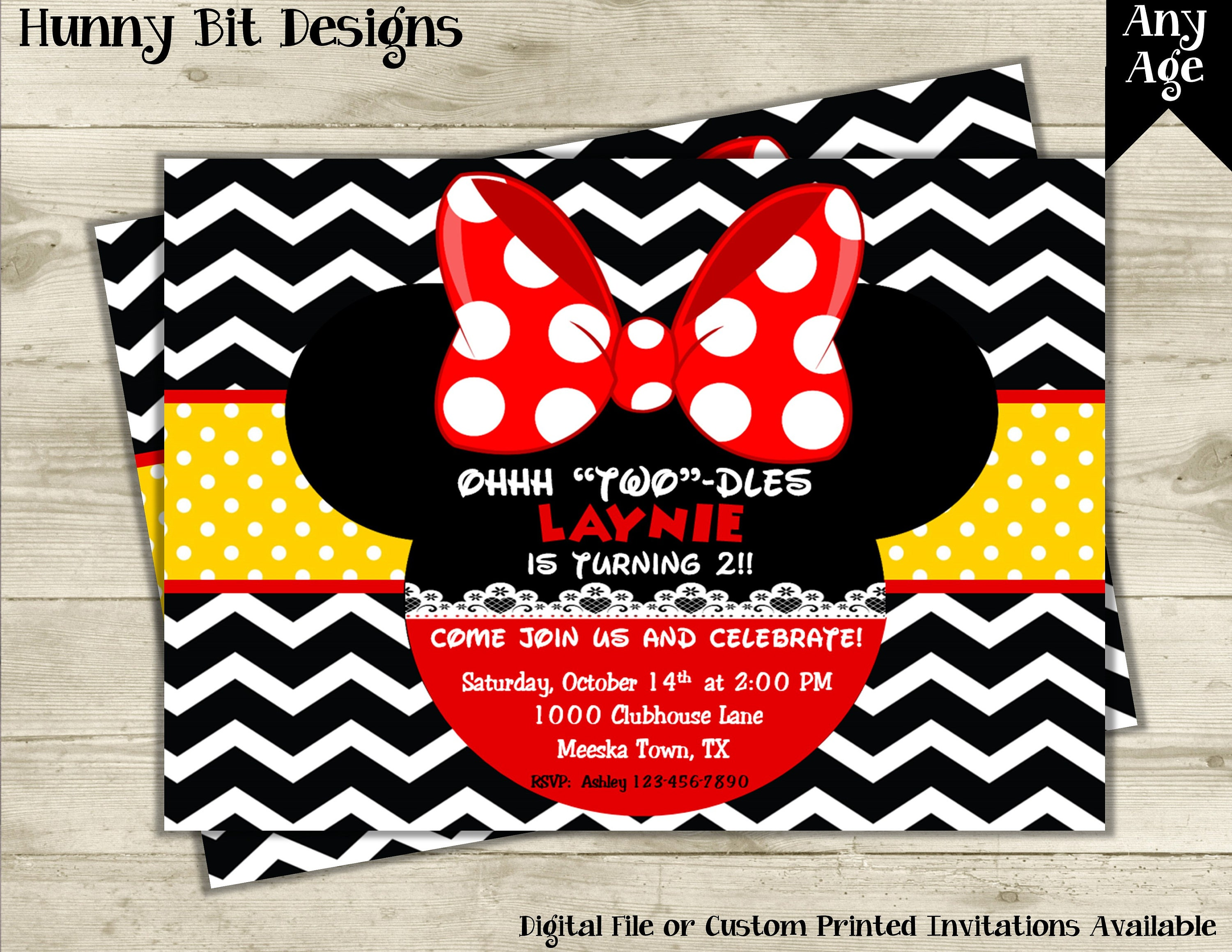 Minnie Mouse Birthday Invitation Mickey Mouse Red Minnie | Etsy