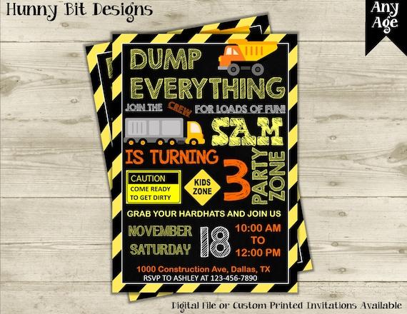 construction birthday party invitation dump truck invitation